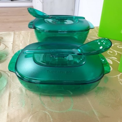 Tupperware Crystalline Serving Set - Purple Royale, Green