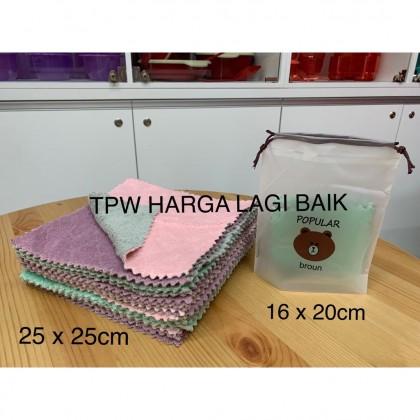 Super Absorbent Microfibre Cleaning Cloth with A Cute Strorage Bag - Random Colour and Design / Kain Lap / Kain Buruk